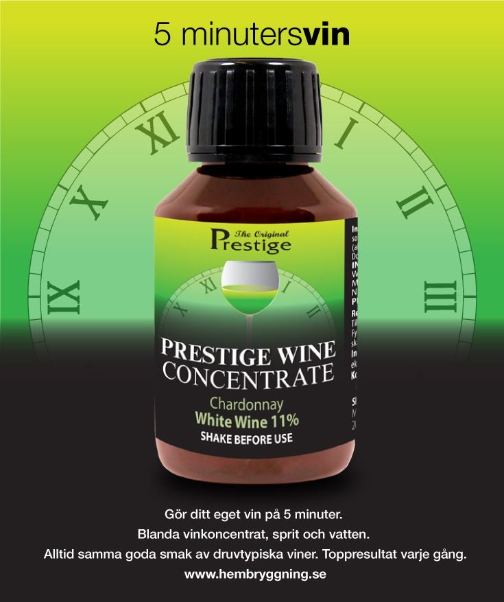 Gör ditt eget vin på 5 minuter. Blanda vinkoncentrat, sprit och vatten. Alltid samma goda smak av druvtypiska viner. Toppresultat varje gång.