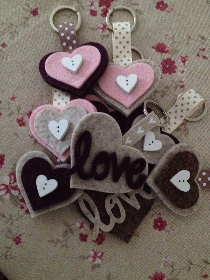 Portachiavi feltrosi d'amore