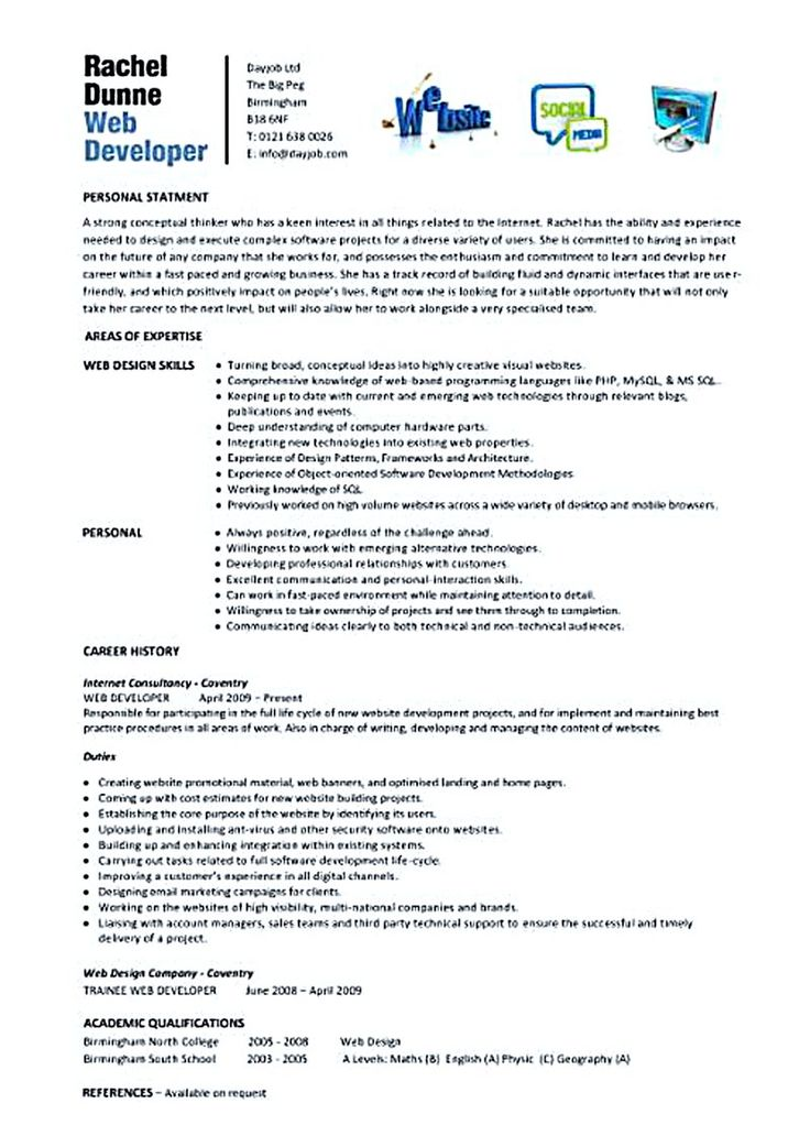 Best 25+ Web developer resume ideas on Pinterest Javascript - software developer resume example