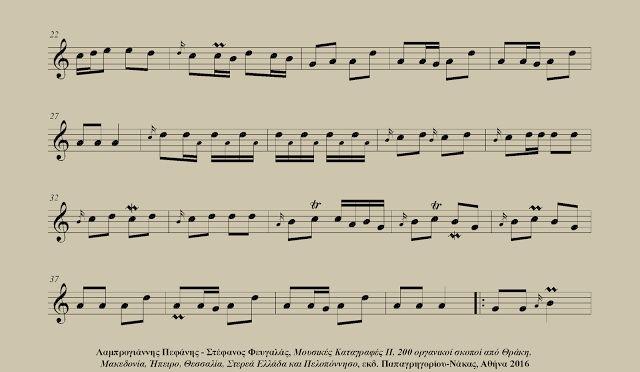 Ξηροποταμίκο συρτό (Ξηροπόταμος Δράμας) - Αβραάμ Δεμίσης (λύρα) Απόσπασμα από το βιβλίο: Λαμπρογιάννης Πεφάνης - Στέφανος Φευγαλάς, Μουσικές Καταγραφές ΙΙ - 200 οργανικοί σκοποί από Θράκη, Μακεδονία, Ήπειρο, Θεσσαλία, Στερεά Ελλάδα και Πελοπόννησο, εκδ. Παπαγρηγορίου-Νάκας, Αθήνα 2016