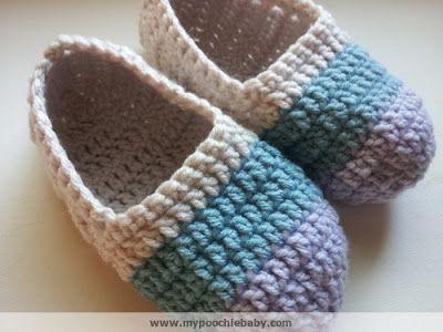 Women's Crochet Ballet Slippers: Free Pattern | Poochie Baby Crochet Designs