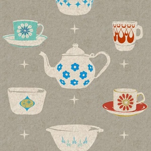 Vintage Dishes Fabric