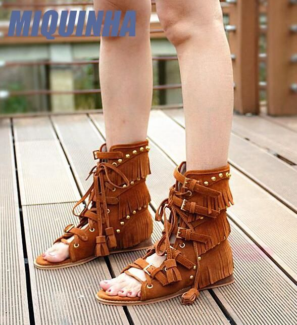 (117.81$)  Watch now - http://aiom2.worlditems.win/all/product.php?id=32803117555 - MIQUINHA Fashion Camel Suede Leather Women Open Toe Sandals Buckles Cut Out Front Ladies Fringe Cover Flat Sandals High Quality