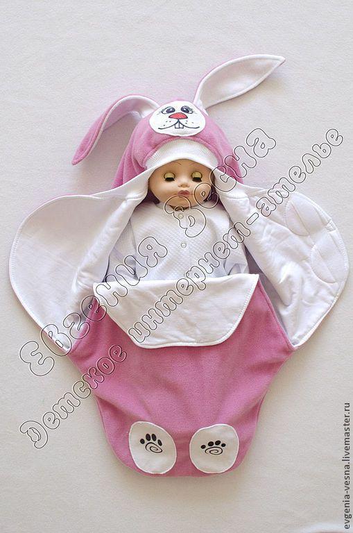 """Купить Конверт-кокон """"Зайка"""" - конверт, для новорожденного, на выписку, для прогулок, кокон, конверт-кокон"""