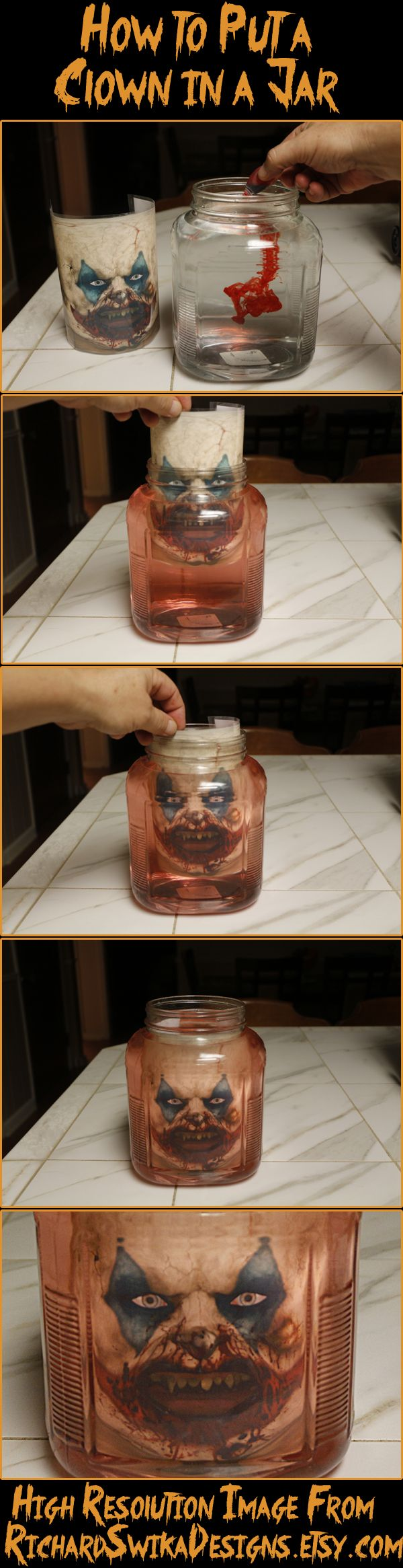 How to put a Clown in a Jar, Clown Goblin Head in a Jar Head Halloween Prank, Head in a Bottle Sideshow Trick, Digital Download, Haunted House Illusion, It Evil Clown.  I will make any custom character upon request.