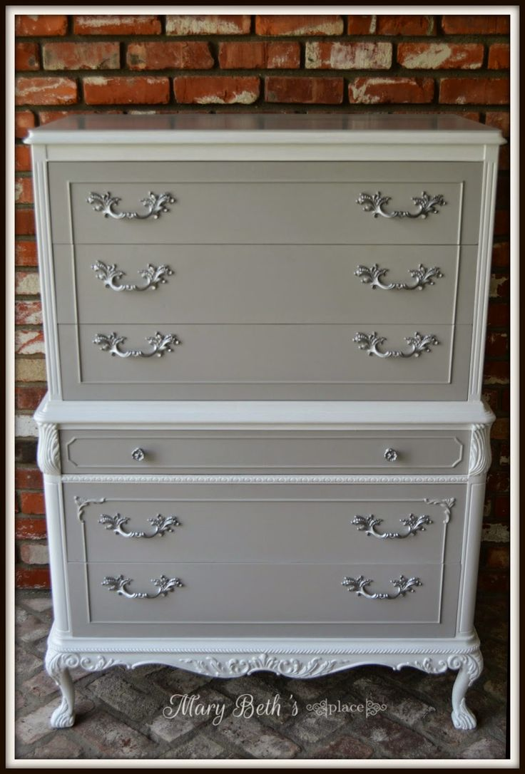 Light gray and white chest on chest with pewter? hardware, very handsome!! LOOK!! from Mary Beth's Place.