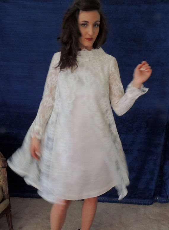 The Hippest, Most Mod Wedding Dress.  Short Mini Dress with Lace Panels.  Tent 1960s Style.   Sheer Long Sleeves.