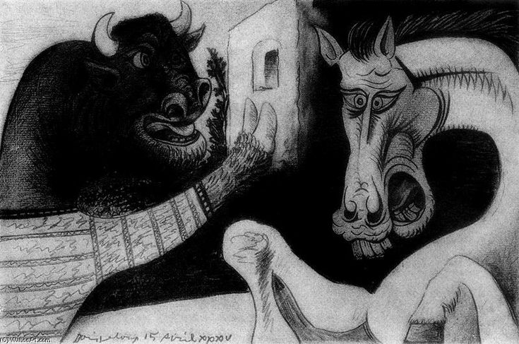 Pablo Picasso >> Minotaur and horse  |  (Oil, artwork, reproduction, copy, painting).