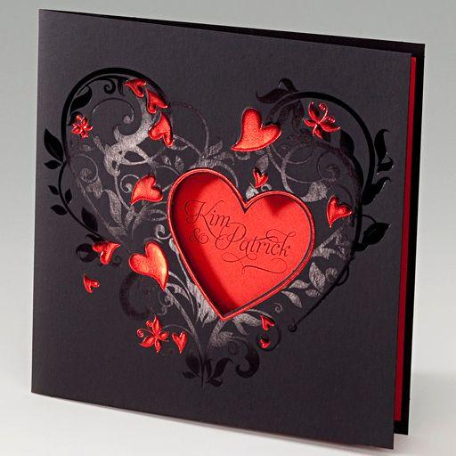 Diese ausgefallenen Hochzeitskarten bestechen durch eine edle Gestaltung in den Farben Rot und Schwarz. Hergestellt wurden diese Hochzeitskarten aus einem durchgefärbten, schwarzen Premiumkarton der mit einer schimmernden Rotfolienprägung aufwendig veredelt wurde. Online bestellen - nur bei uns! www.top-kartenlieferant.de