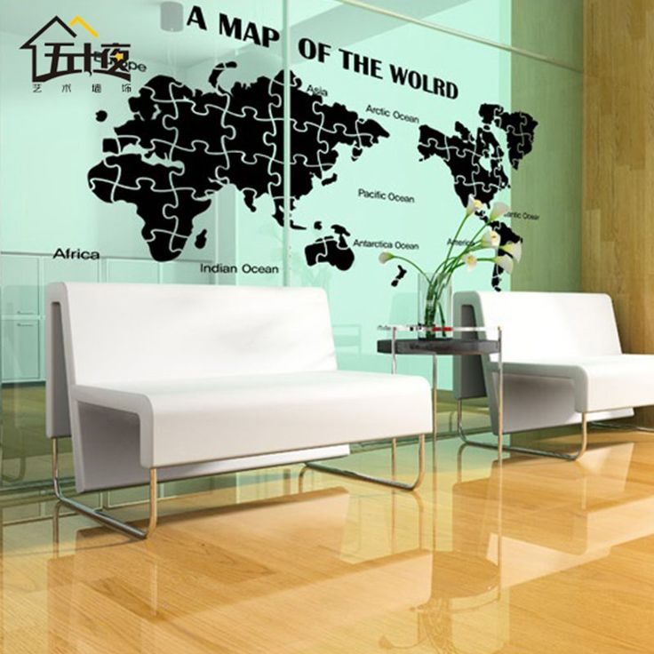 World Map Wall Decal Large New Design Art Pattern Puzzle Decal Creative World Map Wall Sticker Poster Sticker #Affiliate