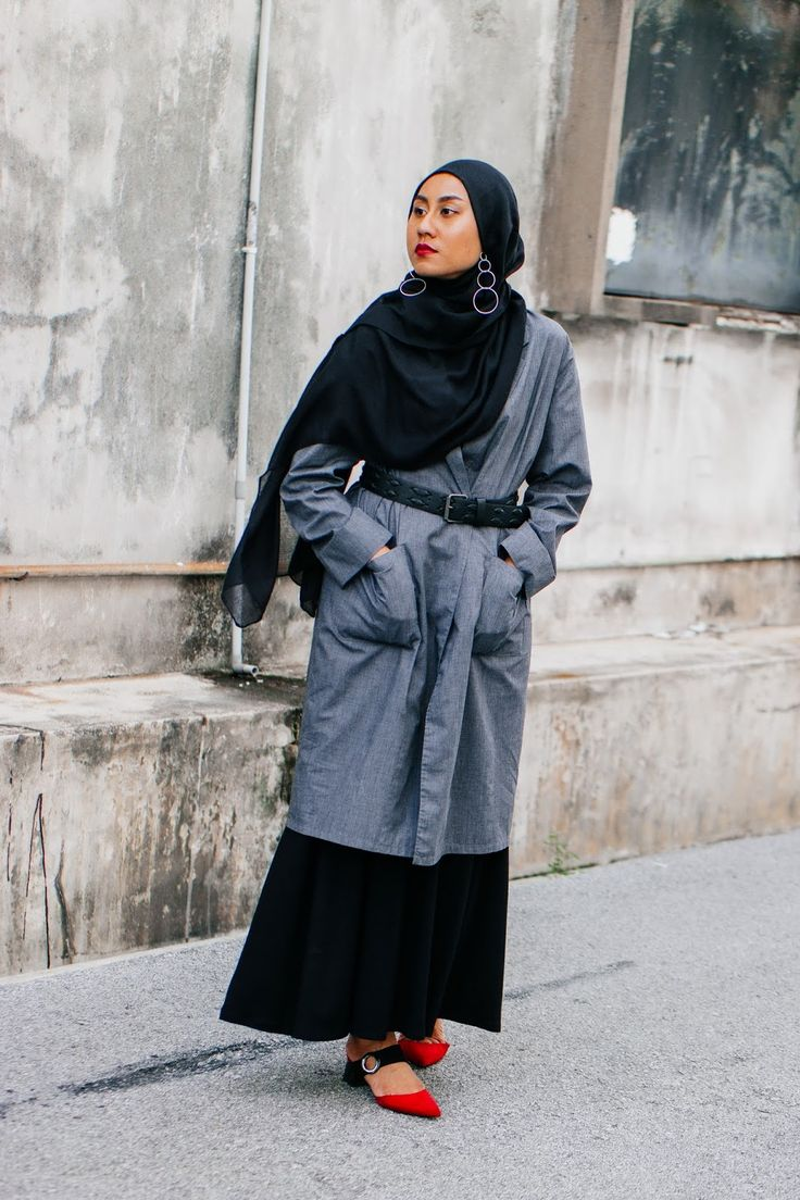 Belted Duster Coat with Black Maxi Skirt