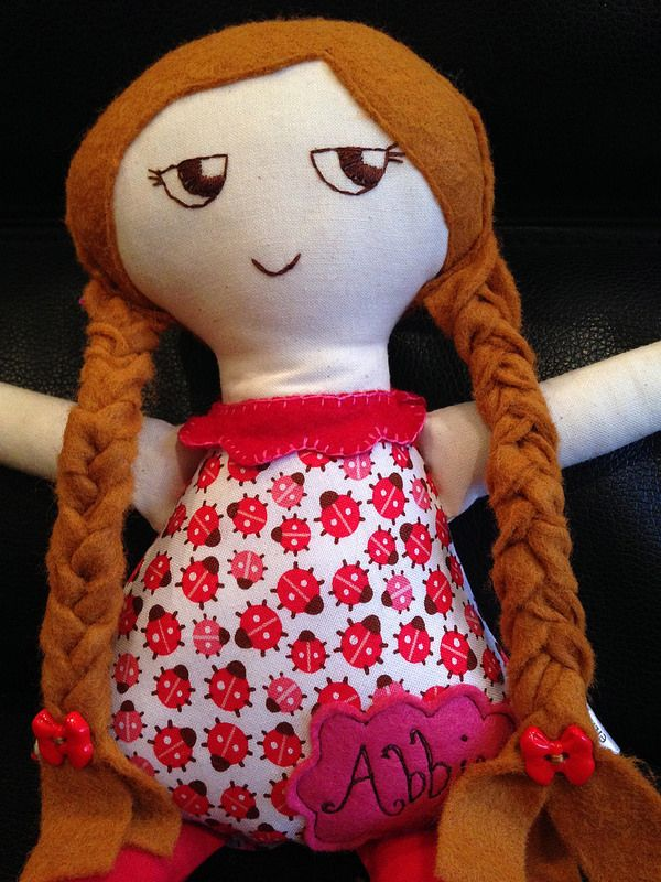 Personalised girl doll with plaits