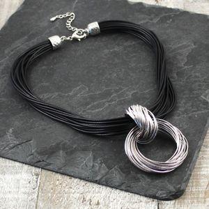 Hoop To Hoop Cord Necklace In Grey Or Black