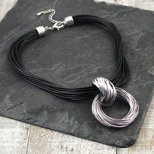 Hoop To Hoop Cord Necklace In Grey Or Black
