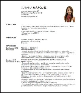 modelo curriculum vitae tcnico de call center
