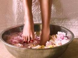 Rose petals foot soak