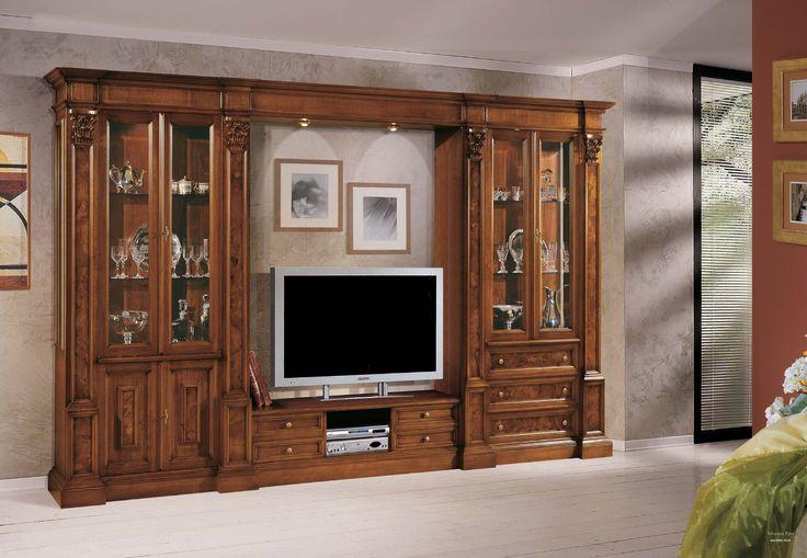 Модульная система с тумбой для ТВ и резной отделкой, Mirandola Export - Мебель МР
