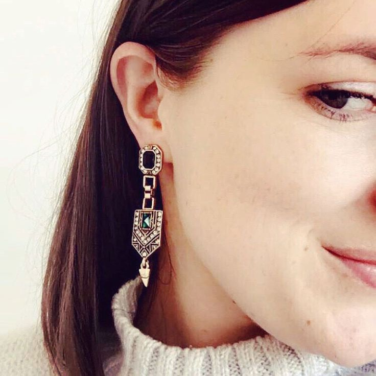 My Shining Armour Ber Earrings. Art deco style with an emerald and black crystal. Shop at http://myshiningarmour.com