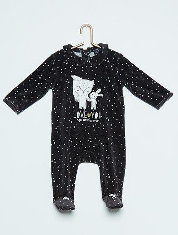 Fluwelen pyjama met geborduurd konijn                                         zwart Meisjes babykleding  - Kiabi