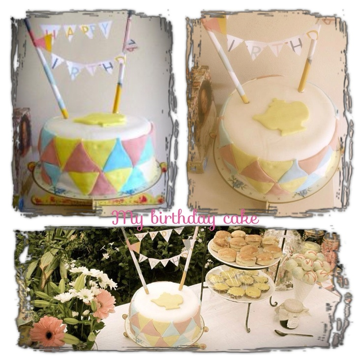 "This was my own birthday cake I made. I tried to keep it in the theme of ""high tea party"". I also love bunting flags so made the happy birthday out of little pieces of paper!"
