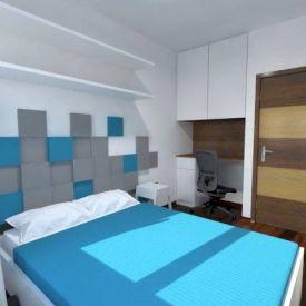Wizualizacja. Sypialnia w prywatnym mieszkaniu. Panele Pixel