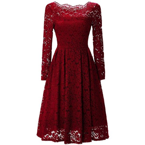 Gigileer Women's Vintage Floral Lace Long Sleeve Boat Neck Cocktail... ($25) ❤ liked on Polyvore featuring dresses, red cocktail dress, floral print cocktail dress, red formal dresses, formal dresses and floral cocktail dresses