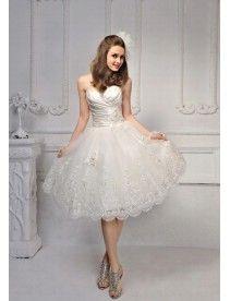 A Linie|Prinzessin Knielange Spitze Liebsten Perlenstickerei Brautkleid Standesamt