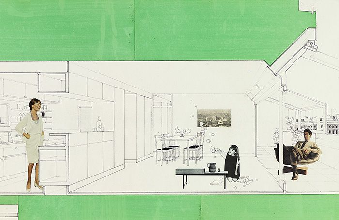 Montaged perspective section of the Brunswick Centre, 1960