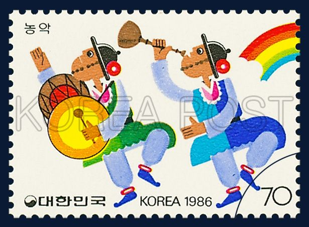 POSTAGE STAMPS FOR FOLKWAYS SERIES(Ⅲ), Instrumental music of peasants, traditional culture, white, blue, yellow, 1986 08 26, 민속시리즈(세번째묶음), 1986년 08월 26일, 1442, 농악, postage 우표
