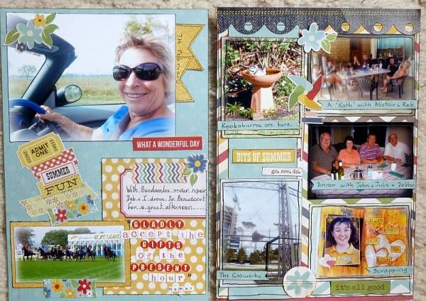 A great year in review page by Kathy from the Chook Scraps Scrapbook Gallery - #4 YIR (p4&5)