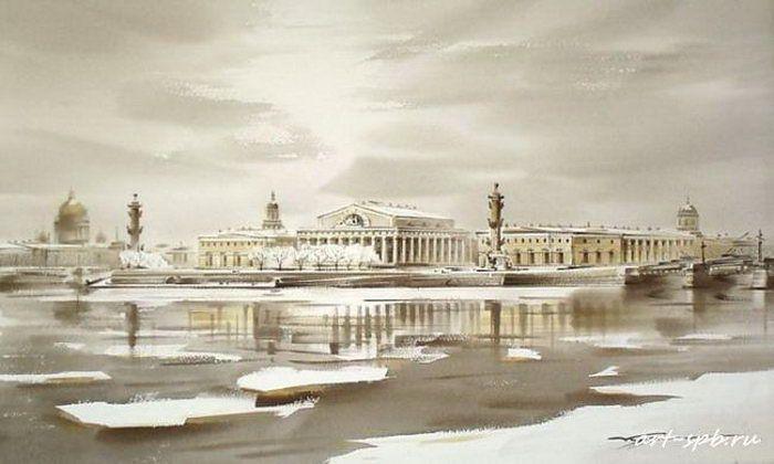 Стрелка Васильевского острова. Ледоход