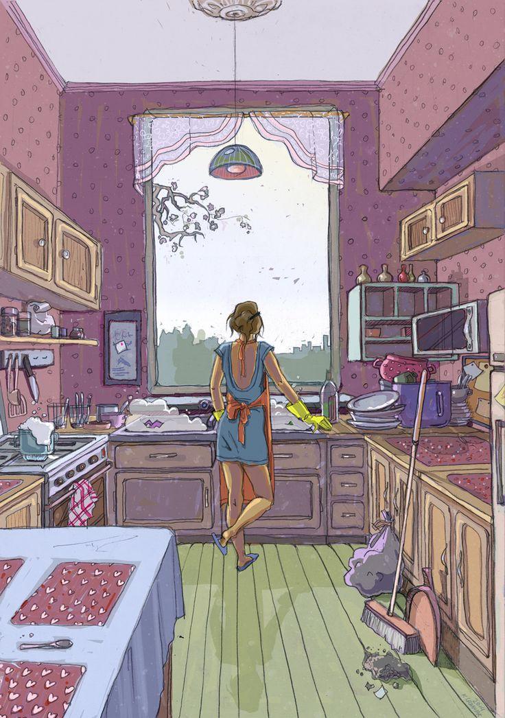 urbaniak ilustracje illustration kobieta dziewczyna w kuchni sprzątanie gotowanie urbaniak ilusrtracja woman in kitchen sad dreams clean dishes
