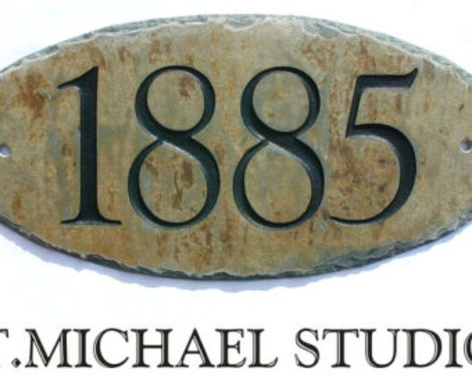 CARVED SLATE ADDRESS Plaque /Sign / Stone / Marker / House / Number / Eco-Friendly