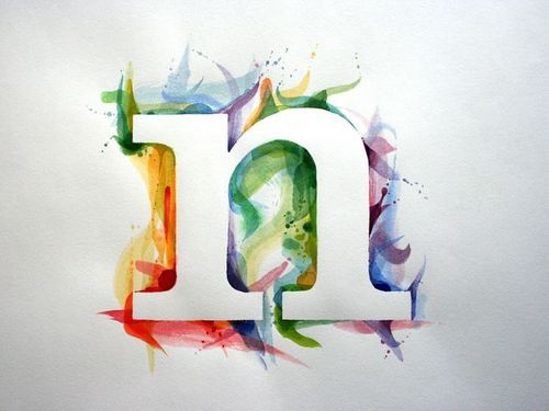 Use watercolor technique in design, with live type in negative space