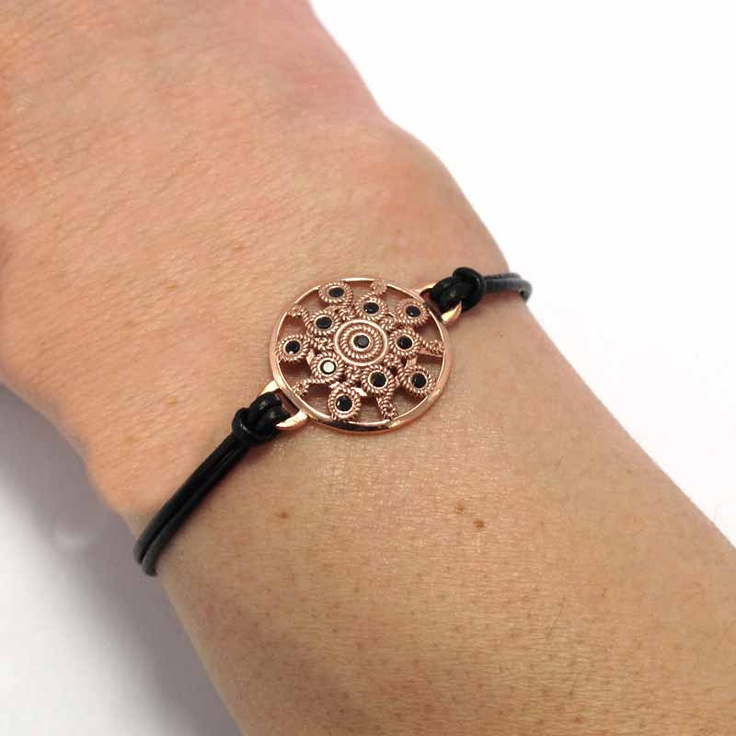 $38.90 Leather and silver bracelet zircons