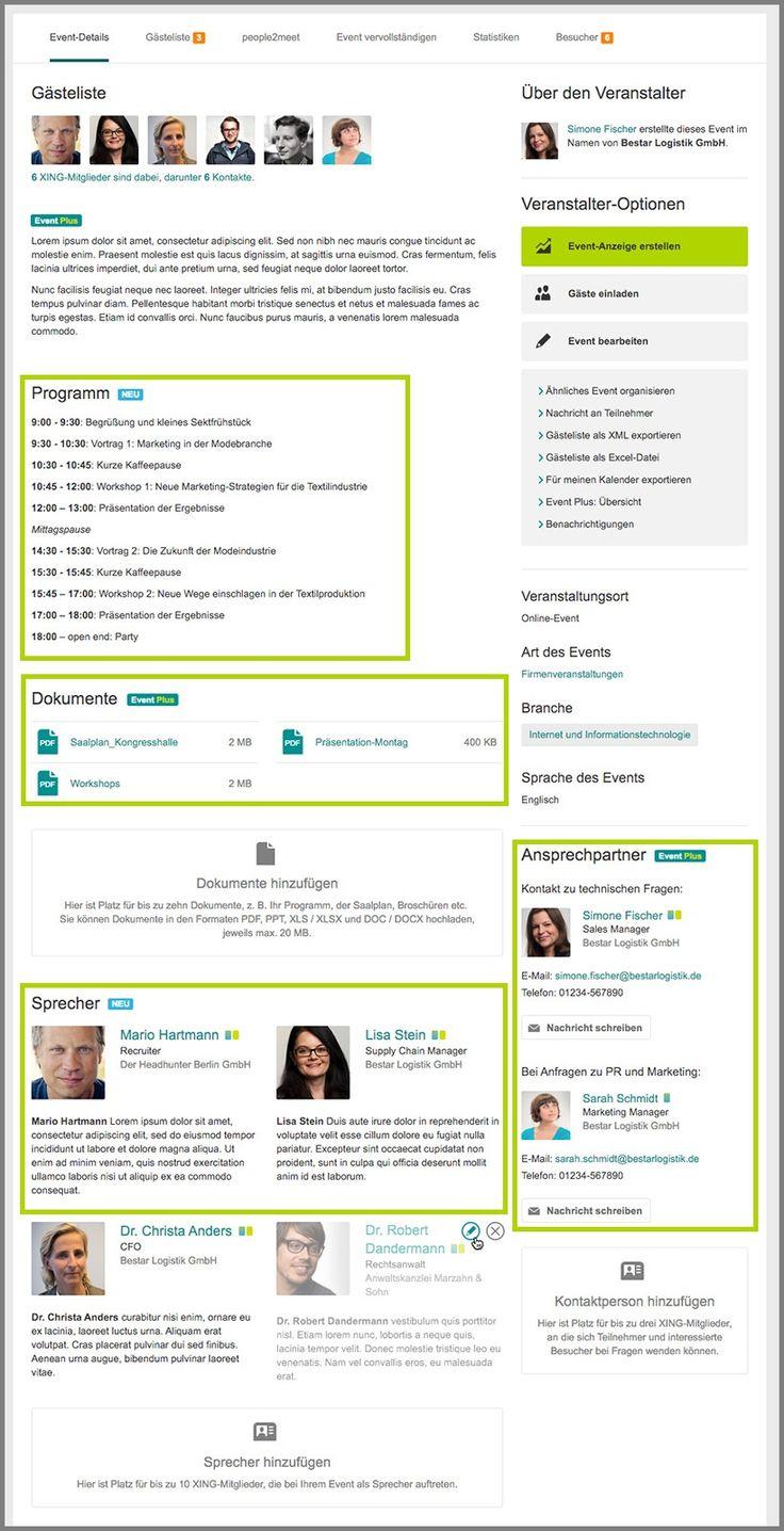 Neue Features für die XING Event Plus Seite: Fügen Sie ein Eventprogramm, Dokumente, Sprecher und Ansprechpartner für das Event hinzu.