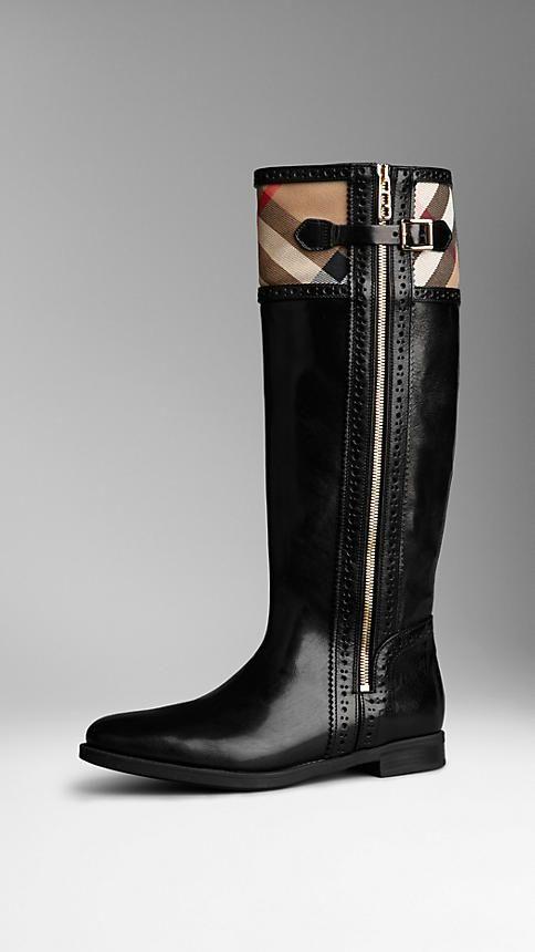 Stivali da equitazione House check con dettaglio brogue Burberry - 37, grazie