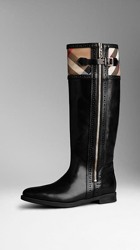 Brogue Detail House Check Riding Boots | Burberry