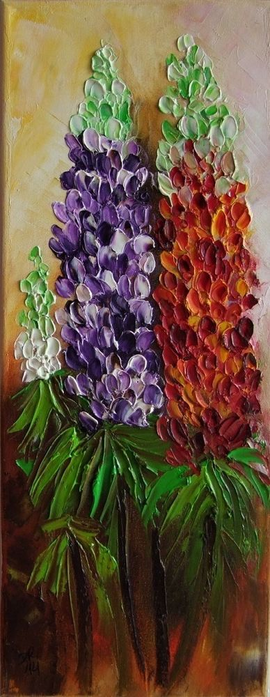 Lupine Flowers Original Oil Painting Textured Palette knife art Europe Artist #ImpressionismImpasto