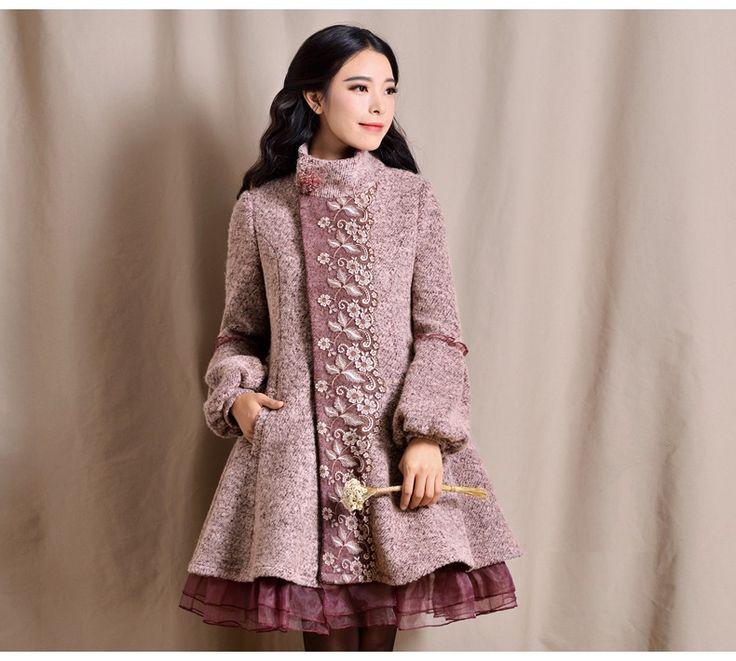2016 winter plus size women's sweet lantern sleeve medium long wool coat…