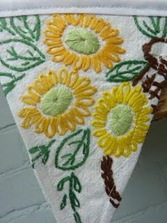 vintage embroidery bunting.