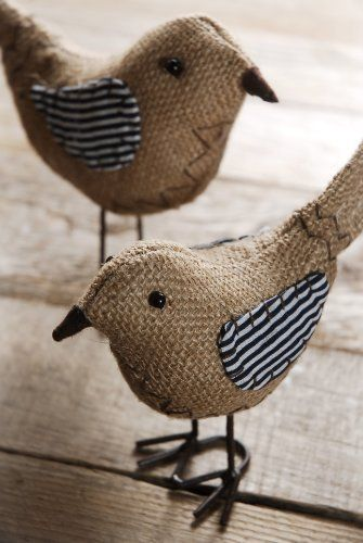 Cute Burlap Bird Pair with Striped WIngs