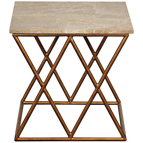 Port 68 Crossing Gold Accent Table