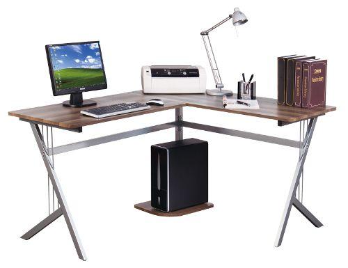 Eckschreibtisch / Schreibtisch / Computertisch POLLUX Walnuss / Silber hjh OFFICE