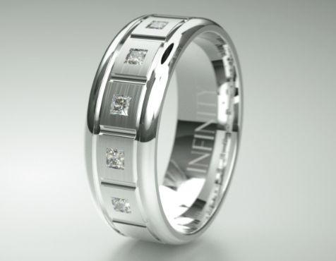 A stunning mens dress ring and mens wedding ring band, with five diamonds is design 1144D, an endearing piece available in 12 metal combinations and viewable online in 360' http://infinityrings.com.au