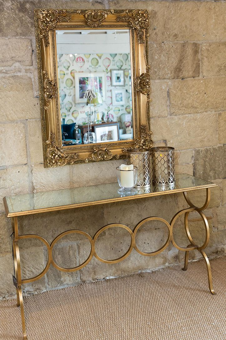 Gold console table #penroseinteriors #interiordesign #home #furniture upholstery #fabric #wallpaper #trimmings #paint #sofas #chairs #accessories #lighting #pictures #mirrors #cushions #gifts #Bakewell #Chatsworth #Derbyshire www.penroseinteriors.co.uk