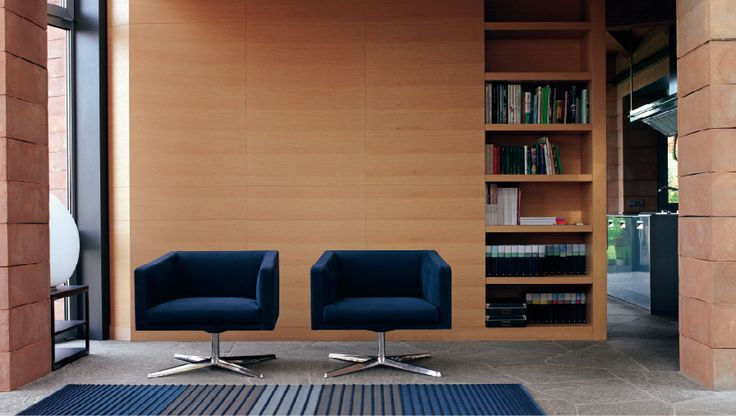 Stylish office with deep blue Cubica