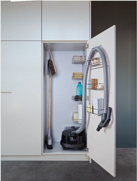 vacuum cleaner storage cabinet closet and laundry room pinterest vacuum cleaner storage. Black Bedroom Furniture Sets. Home Design Ideas