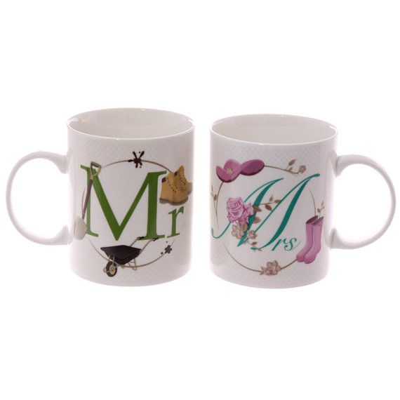 Set of 2 Coffee Mugs Mr and Mrs Couple Gifts by getgiftideas
