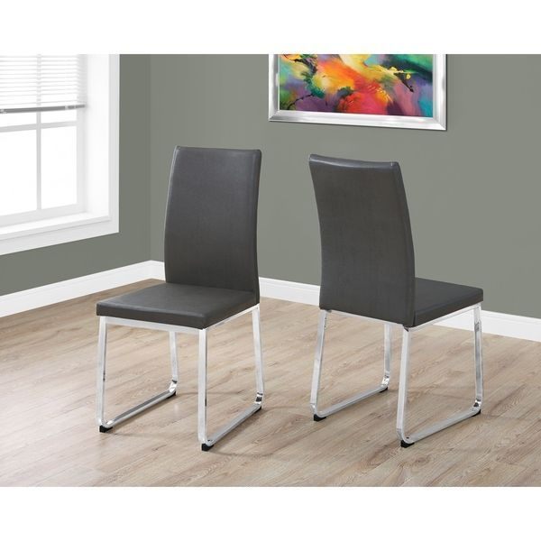 Grey Chrome Faux Leather Dining Chair Set Of 2 Faux Leather Dining Chairs Dining Chairs Dining Chair Set